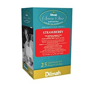 Dilmah Exotic Collection, Strawberry Flavored Tea, 25-Count Individually Foil Wrapped Teabags (Pack of 6)
