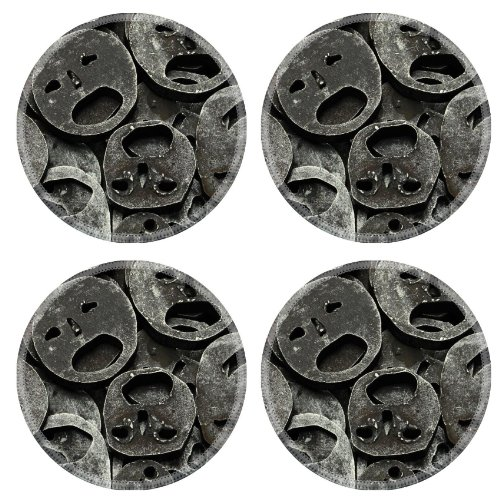 Metal Mask Iron Cut Out Round Coaster (4 Piece) Set Fabric Rubber 5 Inch Size Luxlady Coaster Cup Mug Can Water Bottle Drink Coasters Stain Resistance Collector Kit Kitchen Table Top Desk front-548591