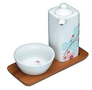 Kitchen Craft World of Flavours Oriental - Juego de platillo, recipiente y jarra pequeña para salsa de soja, diseño floral, color blanco, rosa y azul   Más información y revisión del cliente