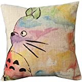 Hand Painted Colorful Lovely Totoro Chinchilla Throw Pillow Case Decor Cushion Covers Square 18*18 Inch Beige Cotton Blend Linen