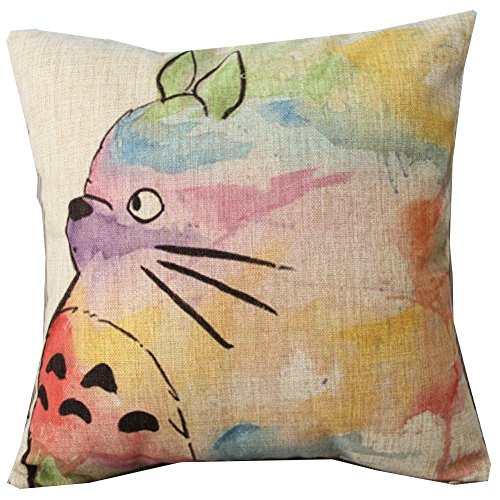 Hand Painted Colorful Lovely Totoro Chinchilla Throw Pillow Case Decor Cushion Covers Square 18*18 Inch Beige Cotton Blend Linen,Ningtao Cushion Cover Factory,PQ928