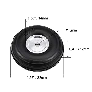 uxcell Tire and Wheel Sets for RC Car Airplane,PU Sponge Tire with Aluminum Alloy Hub,1.25 inches (Tamaño: 1.25 Aluminum Hub)