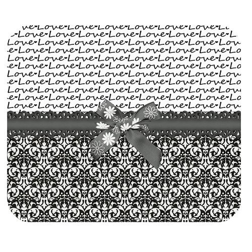 Atnee Black And White Love Damasks With Bowknot Rectangle Mousepad Mousemats Mouse Mat