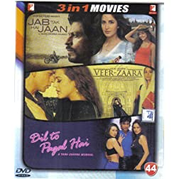 Jab Tak Hai Jaan / Veer - Zaara / Dil To Pagal Hai (Hindi Film / Bollywood Movie / Indian Cinema 3 in 1 - 100% Orginal DVD Without Subtittle)