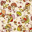 Toile Kokka kawaii beige motif champignons multicolores