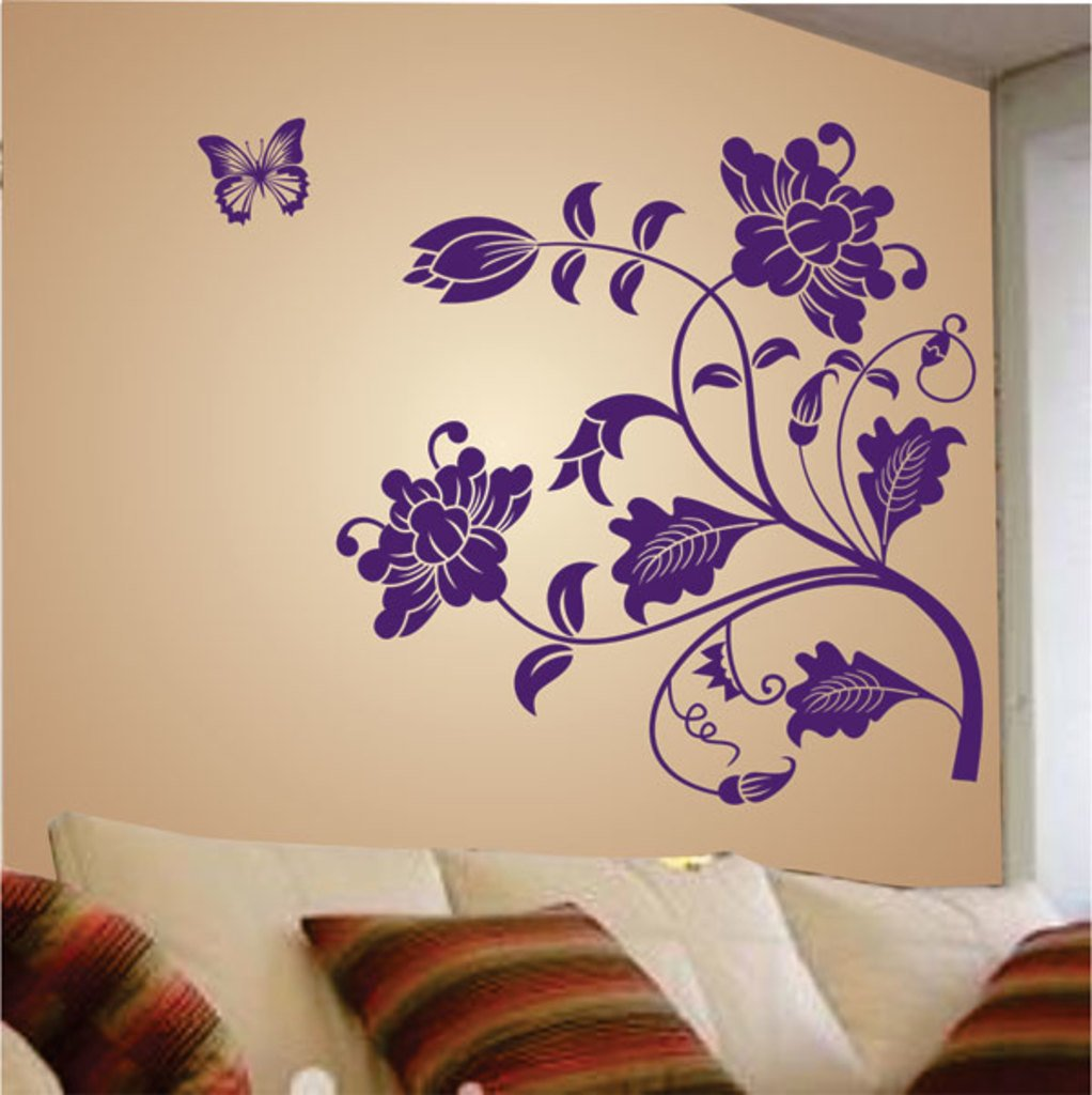 decals design vine flower wall sticker pvc vinyl 50 cm x 70 cm purple - Wall Designs Stickers