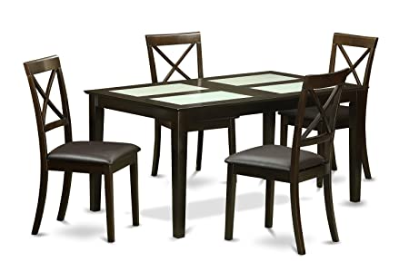 East West Furniture CABO5G-CAP-LC 5-Piece Dining Table Set