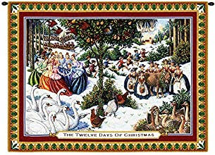 Pure Country Weavers Twelve Days of Christmas Small Wall Tapestry 2404-WH 34 inches wide by 26 inche
