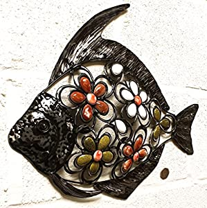 Shabby Black FISH Metal Wall Art Decoration with colored stones 39cm x 41cm for garden or home