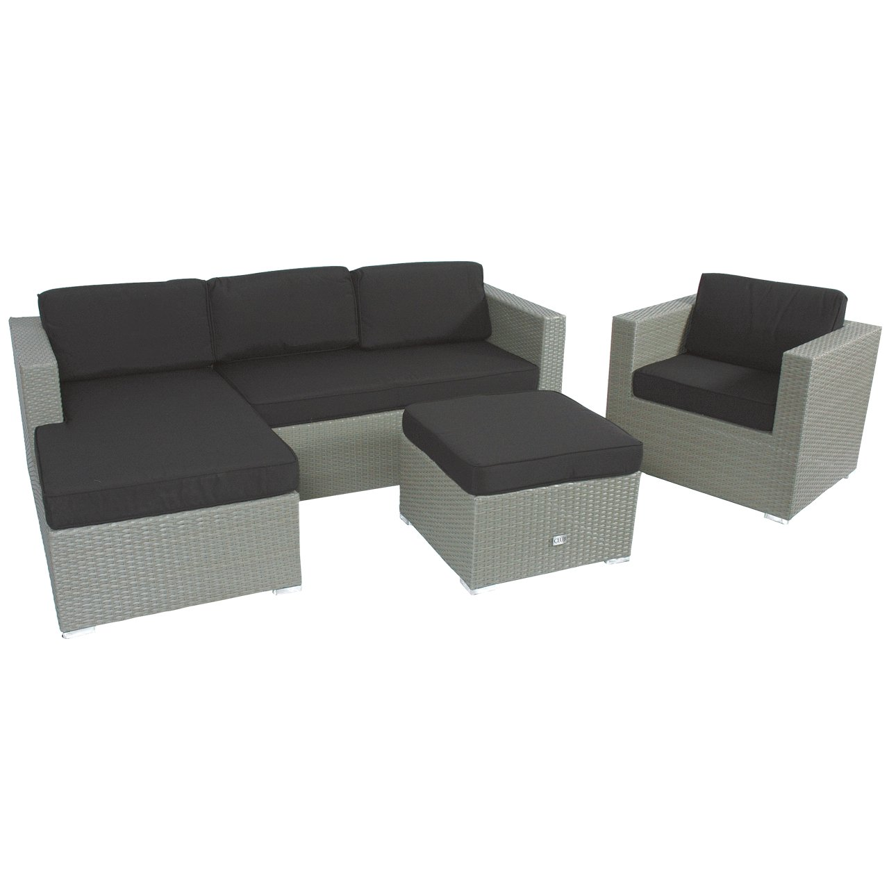 poly rattan ecklounge set 3tlg grau gartenm bel hocker. Black Bedroom Furniture Sets. Home Design Ideas