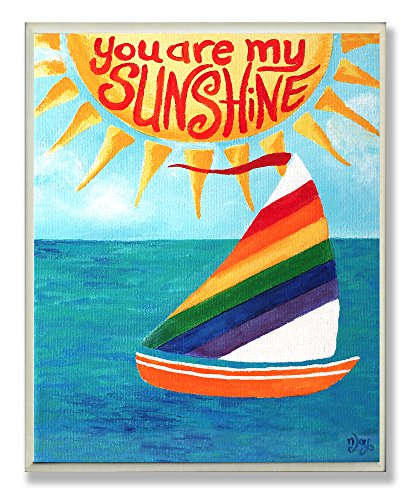 The Kids Room by Stupell You are my Sunshine Rainbow Sailboat Rectangle Wall Plaque