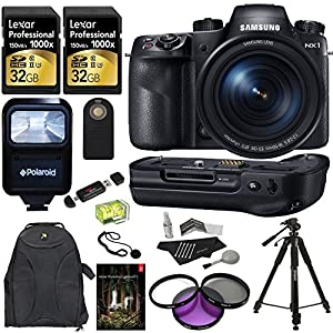 "Samsung NX1 28.2 MP Wireless SMART Mirrorless Digital Camera with 16-50mm f/2.0-2.8 ""S"" Lens + Samsung ED-VGNX01 Vertical Battery Grip + Lexar Professional 1000x 32GB SDHC UHS-II/U3 (2 Pack) + Polaroid 72"" Professional Tripod + Polaroid Studio Series Pro"