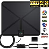 HDTV Antenna, 2019 Indoor Amplified Digital TV Antenna 120Miles Range Signal Booster for 4K Free Local Channels 17ft Coax Cable Support All TV's (Color: standart)