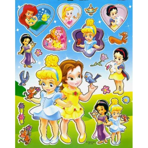 Baby Princesses Cinderella & Belle Disney STICKER SHEET BL046 ~ Baby Ariel Suzy the mouse Princess & animals