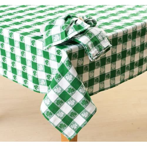 "Patrick's Day COTTON Tablecloth 60"" Round Green & White Irish Clover"