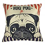Come2buy - Machine Washable Cotton Linen Sofa Couch Chair Throw Pillowcase Cushion Cover Decorative Insert Not Included - Lovely Hug Pug Dog