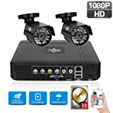 1TB HDD Pre-Install 4CH Security Camera System 1080N Video DVR Recorder with 2X HD 1080P Indoor Outdoor Weatherproof CCTV Cameras,Motion Alert, Smartphone, PC Easy Remote Access, Home Security Camera (Color: 2pcs 1080P Cams+4CH DVR(1TB HDD Pre-installed))