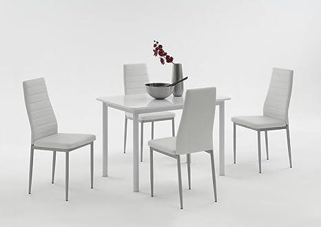 Dreams4Home Tischgruppe 'Belinda I', 4x Stuhl, Esszimmertisch, Kuchentisch, Esszimmer, Tisch, Weiß, Hochglanz