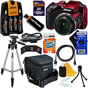 Nikon COOLPIX B500 Wi-Fi, NFC Digital Camera w/40x Zoom & HD Video (Red) - International Version (No Warranty) + 4 AA Batteries with Charger + 10pc 32GB Dlx Accessory Kit w/ HeroFiber Cleaning Cloth