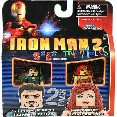 Marvel MiniMates Exclusive Mini Figure 2Pack Iron Man 2 Stark Expo Tony Stark Natalie Romanova