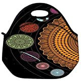 Snoogg Spiral Solar System 2792 Travel Outdoor Carry Lunch Bag Picnic Tote Box Container Zip Out Removable Carry Lunchbox Handle Tote Lunch Bag Food Bag For School Work Office