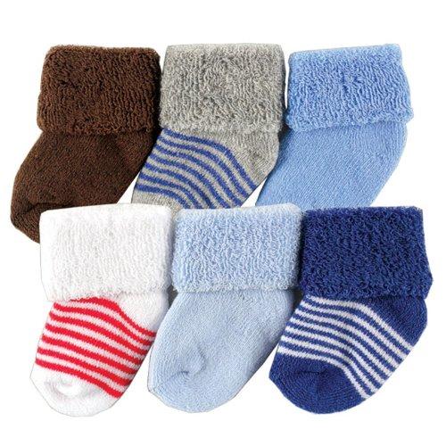 Luvable Friends Newborn Baby Socks 6 Pack, 0-3 Months, Blue front-991623