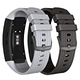 NotoCity Compatible Samsung Gear Fit2 Pro Band Solft Silicone Gear Fit2 Watch Strap Samsung Gear Fit2 Pro Smartwatch Bands Man Women(Black/Grey, Large) (Color: Black/grey, Tamaño: Large)