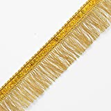 "1-1/4"" GOLD Hologram Sequin on Metallic Fringe by YD, EXP-IR6965"