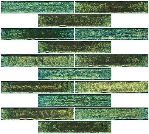 Susan Jablon Mosaics 1x6 Inch Light Lime Green Glass Subway Tile Reset In Running-brick Layout