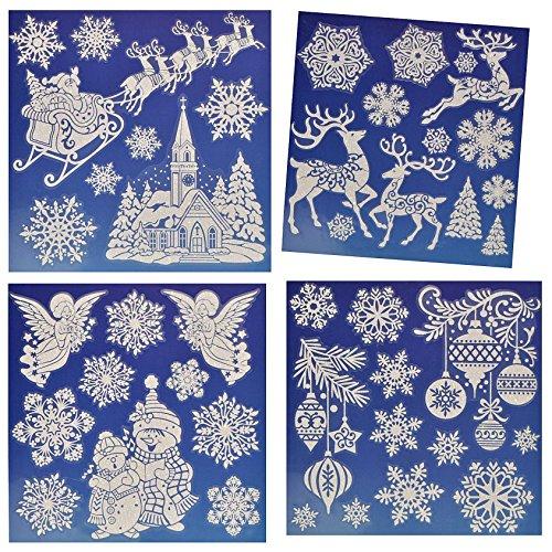 3 b gen fensterbilder weihnachten mit glitzer weihnachtsmann schneemann. Black Bedroom Furniture Sets. Home Design Ideas