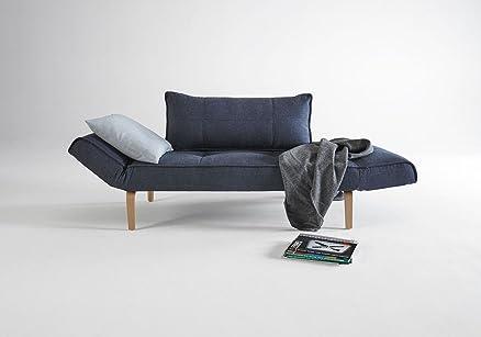 INNOVATION - ZEAL divano letto blu con piedino curvo in rovere