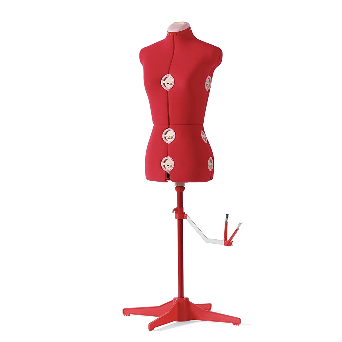 SINGER 12-Dial Fabric-Backed Large Adjustable Dress Form, Red