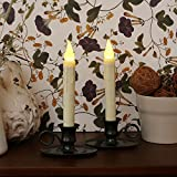 Set of 2 Classic Flameless Ivory Drip Taper LED Candles with Oil Rubbed Bronze Finish Candlesticks with Holder and Auto Eight Hour Timer