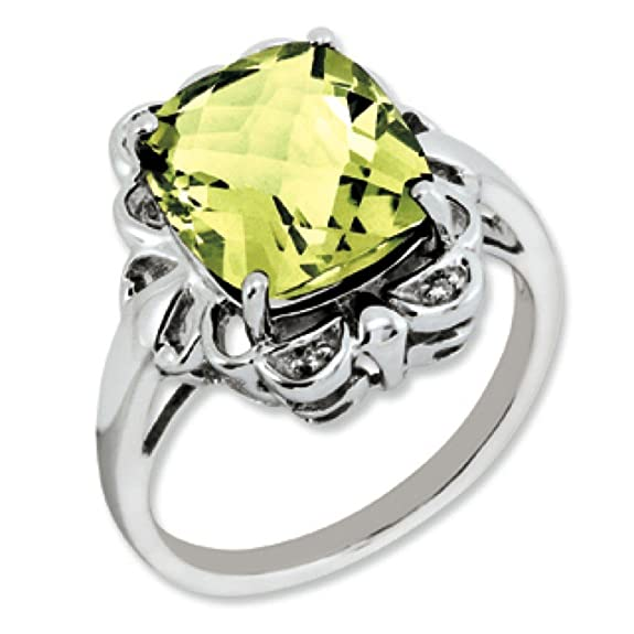 Sterling Silver Lemon Quartz and Rough Diamond Ring - Ring Size Options Range: J to T