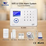 BAILING Home Security Alarm System, touch screen keypad TFT display Wireless WIFI & GSM(2G) 2-in-1 with Auto Dial,Motion Detectors and remote BL6600