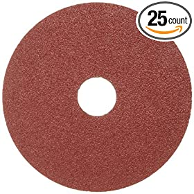 "Norton Gemini Metalite F226 Abrasive Disc, Fiber Backing, Aluminum Oxide, 7/8"" Arbor, 5"" Diameter, Grit 16 (Box of 25)"
