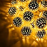 29ft Hollow Ball LED Christmas String Lights w Power Adapter - WARM White - 40 pcs Balls for Christmas - Holiday - Party - Event Decorative Lighting