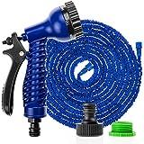 Savisto 75ft / 100ft Long Expandable Garden Hose With Spray Gun - Blue