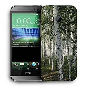 Snoogg White Trees Printed Protective Phone Back Case Cover For HTC One M8