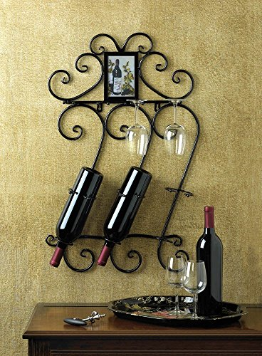 DECORATIVE WROUGHT IRON WINE WALL RACK GLASS HOLDER WITH PHOTO FRAME (Iron Wine Cabinet compare prices)