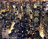 JP London MD5031PS Peel and Stick New York City Night Skyline Lights Removeable Full Wall Mural, 8.5-Feet by 10.5-Feet