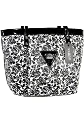 New Guess Logo Purse Tote Shoulder Hand Bag Black White Floral Roses Zoom