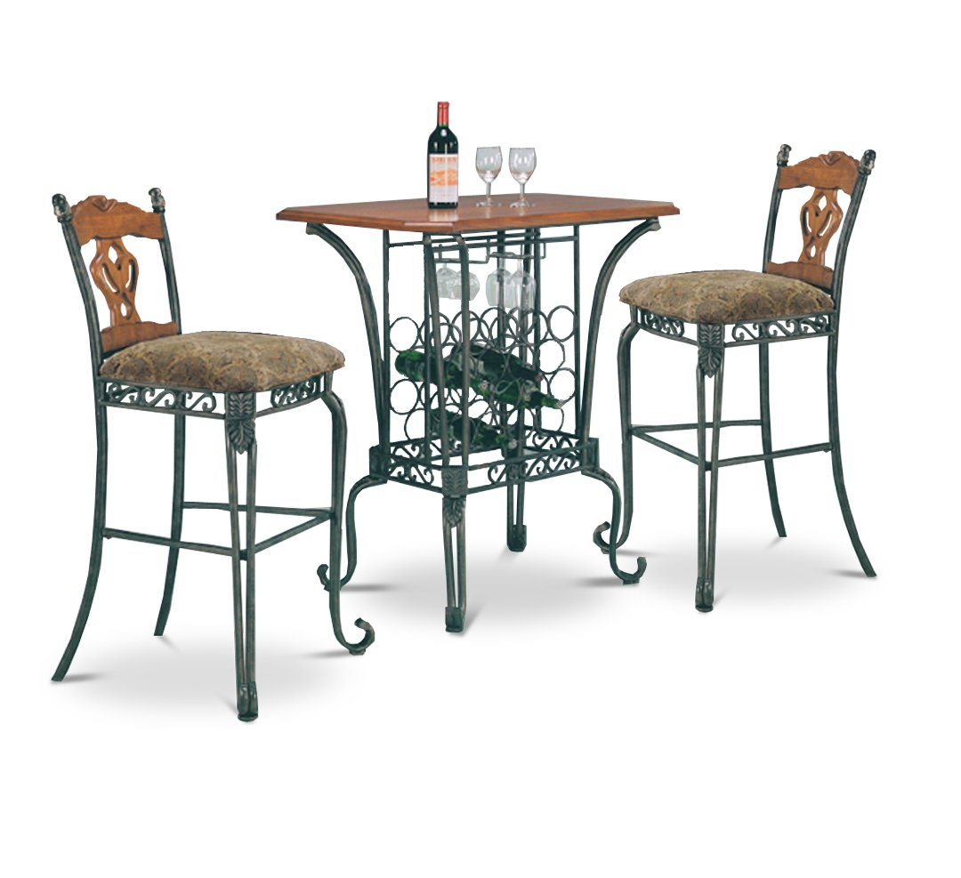 3 Piece Bar Table Set With Wine Rack Base Bar Table And