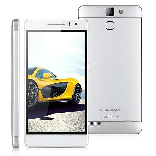 """5,0"""" IPS HD Ecran LANDVO L600S LTE 4G Smartphone Android 4.4 Mémoire 8Go ROM 1Go RAM Quad Core MTK6732 caméra 8MP et 5MP Dual SIM WIFI GPS Bluetooth Smart Wake OTG Fonction-Argenté-pour opérateur français/belgique o"""