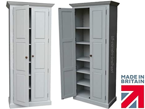 100% Solid Wood Storage Cupboard, 204cm Tall Painted Multi-Purpose Storage Pantry, School/Shoe/Linen/Larder/Kitchen Cabinet. No flat Packs, No assembly. You Choose the Paint Finish! (CUPT103)