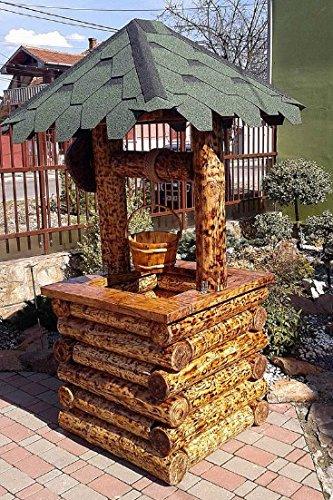 Casa Padrino Garten Brunnen Rustikal mit Schöpfeimer Mod G2 - Eiche Massivholz - Gartenbrunnen Echtholz Massiv