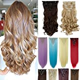 8Pcs 18 Clips 17-26 Inch Curly Straight Thick Full Head Clip in Hair Extensions