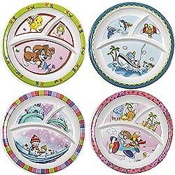 RECON Melamine 3 Partition Kids Plate, 4-Piece