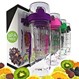 Bevgo Fruit Infuser Water Bottle - Large 32oz - Save Your Money and Hydrate the Healthy Way - Multiple Colors with Gift Included