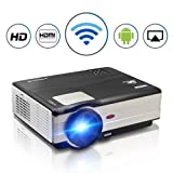 Video Projector Wireless 3500 Lumens, Multimedia Android WiFi Home Theater Projector Full HD 1080p with HDMI USB TV Speaker Keystone Remote for Indoor Outdoor HD Movie Football Sports Photo Game (Color: 3500 Lumen HD WiFi Projector)